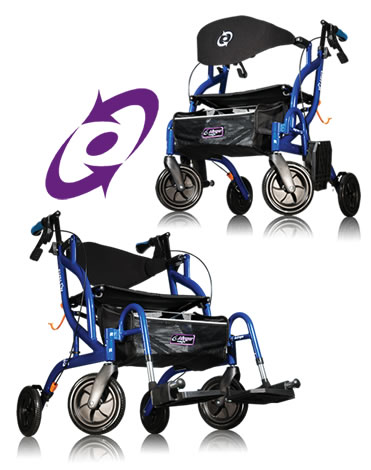 2 in 1 walker transport chair